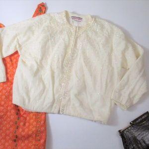 Vtg Wool Beaded Sequin Cardi Sweater Cream Flaw*